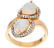 As Is Ethiopian Opal Pear Shaped Bypass Design Ring, 14K Gold - J349764