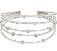 Diamonique Bezel Set Cuff Bracelet, Sterling - J354264