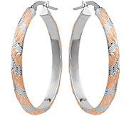 14K White & Rose Gold Satin Hoop Earrings - J377264