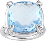 14K 18.10 cttw Sky Blue Topaz & White SapphireRing - J377664