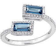 0.85 cttw Blue Topaz & 1/5 cttw Diamond BypassRing, 14K - J377764