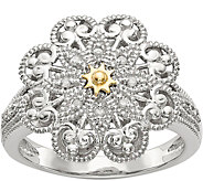 Sterling & 14K Diamond Accent Flower Ring - J378164