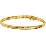 14K Gold 4mm Domed 7 Omega Bracelet, 9.3g - J378364