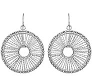 14K Gold Mesh Circle Dangle Earrings, 2.6g - J382164