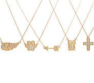 Diamonique Motif Bitty Necklace, 14K Gold - J59164