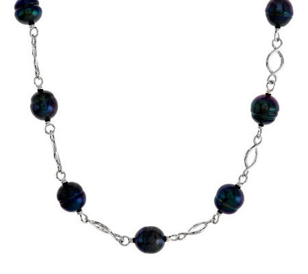 "Honora Cultured Pearl 18"" Twisted Link Sterling Necklace"