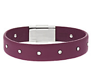 Stainless Steel Crystal Accent Leather Bracelet - J289765