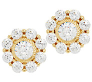 Judith Ripka 14K Clad 118 Facet Diamonique Stud Earrings - J294765