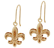 14K Gold Polished Fleur de Lis Drop Earrings - J295265