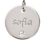 Posh Mommy Sterling Large Disc w/ Simulated Birthstone Pendant - J300065