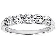 Diamonique Asscher Cut 3.15 cttw 5 Stone Ring,Platinum Clad - J303565