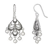 Suspicion Sterling Marcasite Cultured Pearl Earrings - J304465
