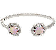 Judith Ripka Sterling Pink Mother-of-Pearl & Diamonique Cuff Bracelet - J318365