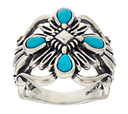 Turquoise Rope Design Sterling Silver Ring by American West - J320465