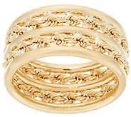 EternaGold Polished & Rope Band Ring 14K Gold - J323065