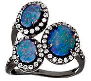 Graziela Gems Australian Opal Triplet & Zircon Sterling 3-Stone Ring - J323365