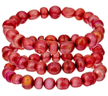Honora Cultured Pearl Set of 3 Stretch Bracelets