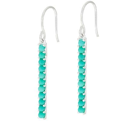 Sterling Turquoise Stick Dangle Earrings