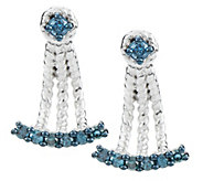 Blue Diamond Earring Jacket, Sterling, 1/3 cttw, by Affinity - J325465