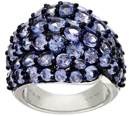 Tanzanite Cluster Sterling Silver Bold Ring 6.50 cttw - J326465