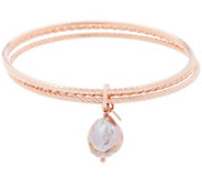 As Is Honora 13.0mm Ming Cultured Pearl Multi-Row Bronze Bangle - J329065