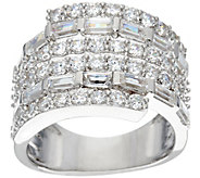 Diamonique Baguette and Round Wrap Design Ring, Sterling - J329865
