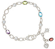 Judith Ripka Sterling 4.35 cttw Gemstone Link Bracelet - J330565