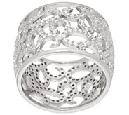 As Is Vicenza Silver Sterling Crystal Scroll Design Band Ring - J331065