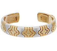 As Is 14K Large Two-Tone Status Design Hinged Cuff - J333765