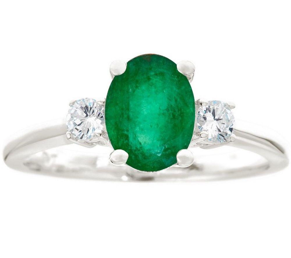 premier 9 10cttw oval emerald 1 5cttw diamondring 14k