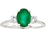 Premier 9/10cttw Oval Emerald & 1/5cttw DiamondRing, 14K - J337165