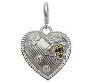 Judith Ripka Sterling Textured Heart Charm withBee Accent - J338965