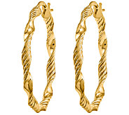 Polished and Textured Twisted Hoop Earrings, 14K - J340465