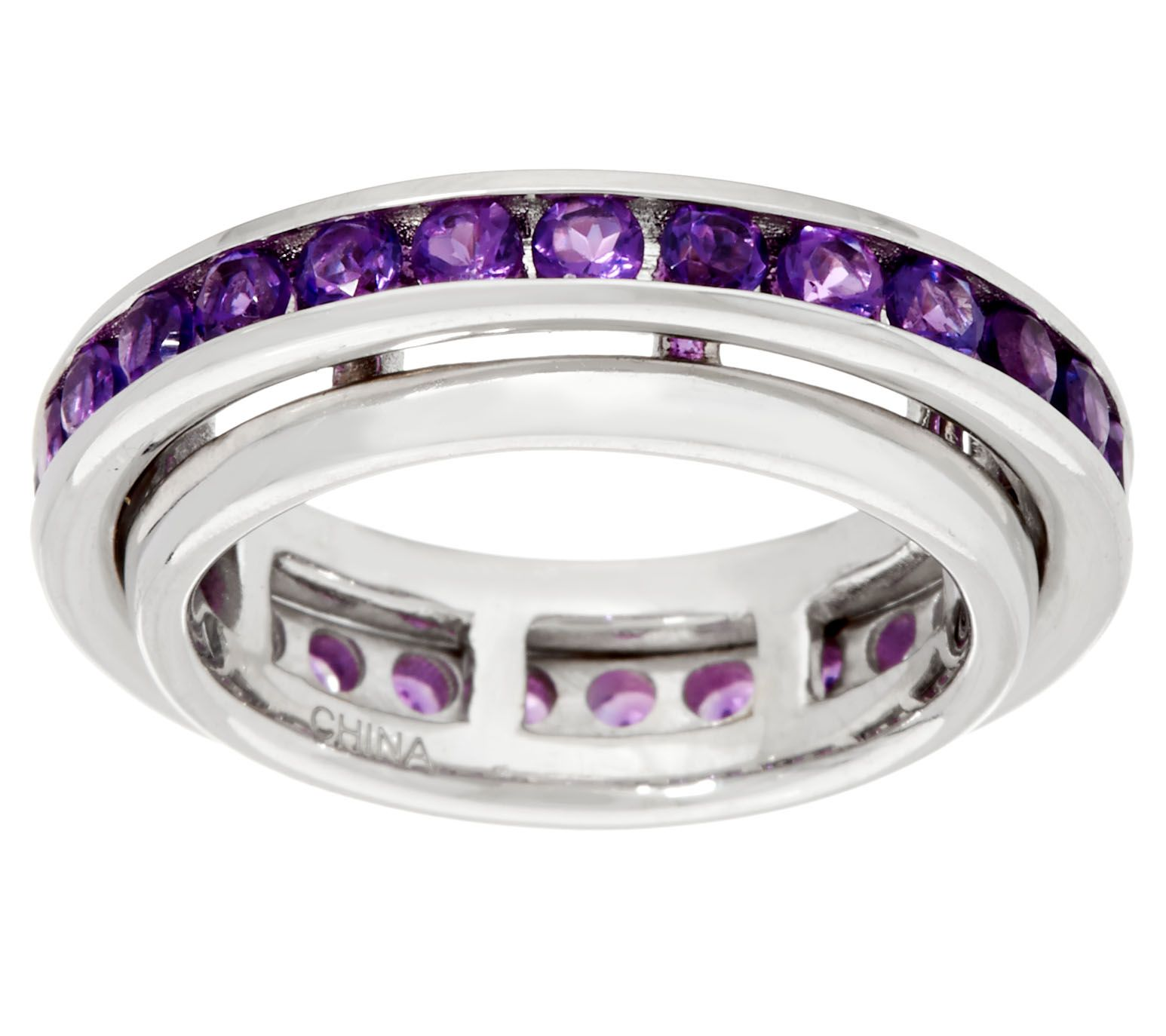 Gemstone Sterling Silver Spinner Ring 1 20 cttw Page 1 — QVC
