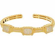 Judith Ripka Sterling/14K Clad 1.90 cttw Pave Diamonique Cuff Bracelet - J347065