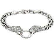 Italian Silver Panther Design Byzantine Bracelet Sterling, 16.0g - J348665