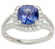 Cushion Cut Tanzanite and Diamond Ring, 2.00 cttw, 14K - J353365