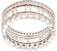 Diamonique Three Ring Eternity Band Set, Sterling - J354265