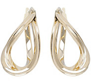 Vicenza Gold Double Wave Hoop Earrings 14K Gold - J374765