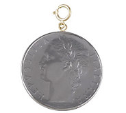 1-1/2 100-Lire Coin Charm, 14K Gold - J110566