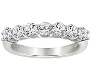 Diamonique 7 Stone Anniversary Band Ring,Platinum Clad - J111666