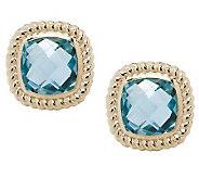 Checkerboard Faceted Gemstone Stud Earrings, 14K - J264866