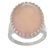 Bold Oval Faceted Chalcedony Sterling Ring - J268566