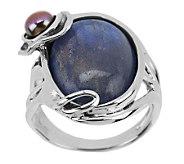 Hagit Sterling Labradorite & Cultured Pearl Ring - J268766