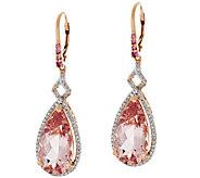 Premier Morganite Pear Shaped Drop Earrings, 14K 12.30 ct tw - J273266