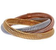 VicenzaSilver Sterling Large Triple Tubogas Bracelet, 37.7g - J277766