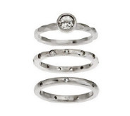 As Is VicenzaSilver Sterling S/3 White Topaz Stack Rings - J286866