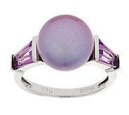 Honora Cultured Pearl 10.5mm Button & Gemstone Sterling Ring - J288766