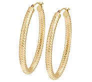 14K Gold 1-3/4 Diamond Cut Oval Tube Hoop Earrings - J289666