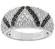 Diamonique 7/10 cttw Black and White Band Ring, Sterling - J293466